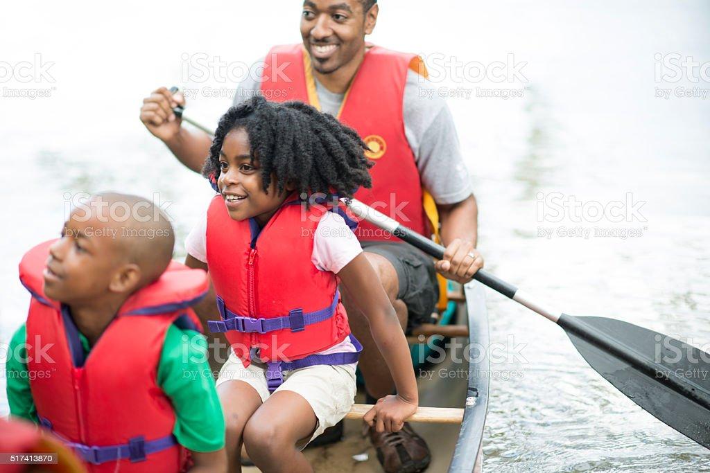 Family on a Canoe Trip stock photo
