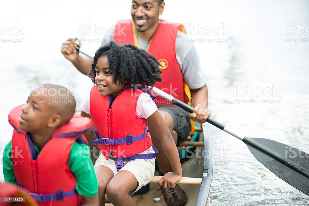 Family on a Canoe Trip stock photo