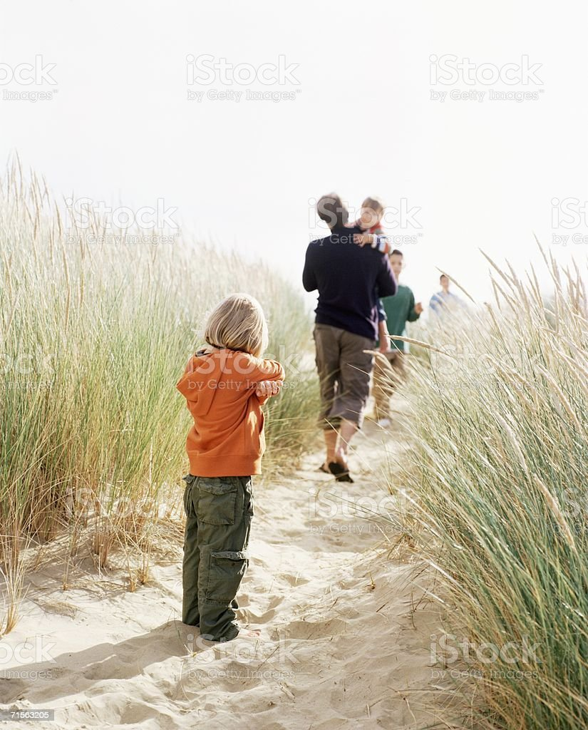 Family on a dune royalty-free stock photo