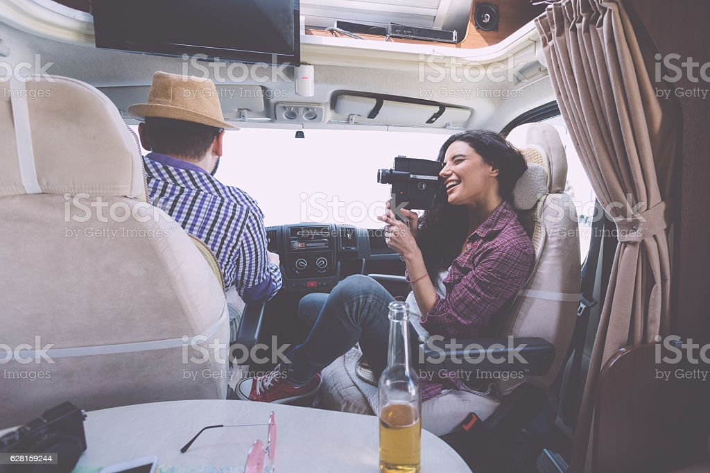 Family on a road trip stock photo