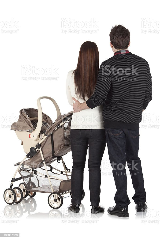 Family on a walk royalty-free stock photo