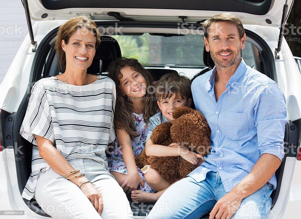 Family on car trip stock photo