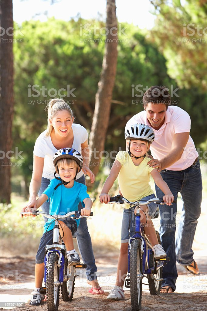 Family On Cycle Ride Together royalty-free stock photo