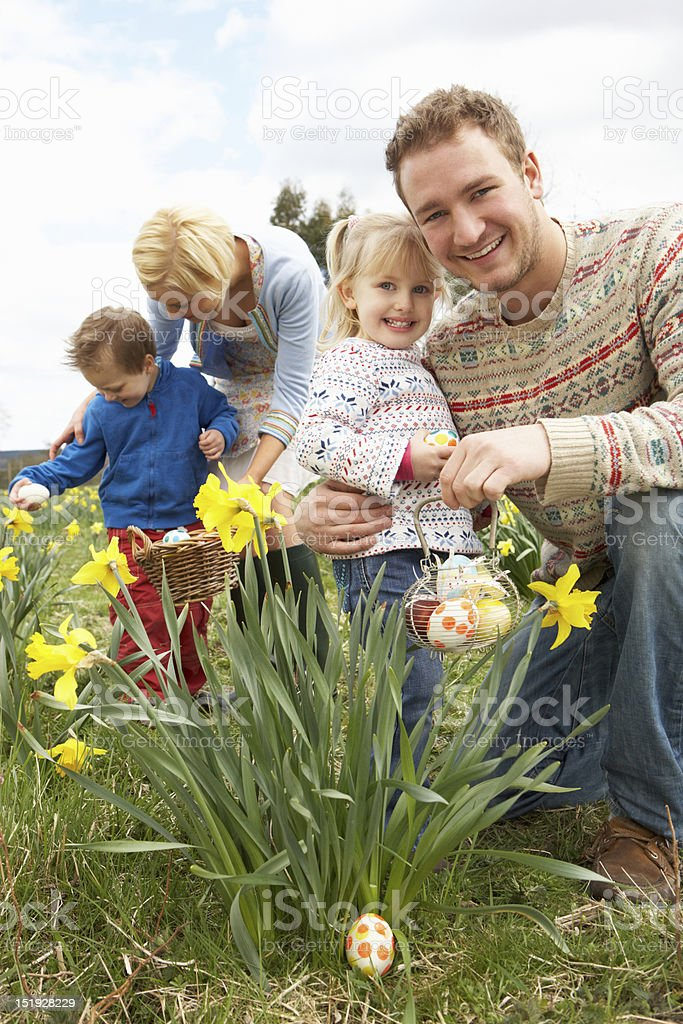 Family On Easter Egg Hunt In Daffodil Field stock photo