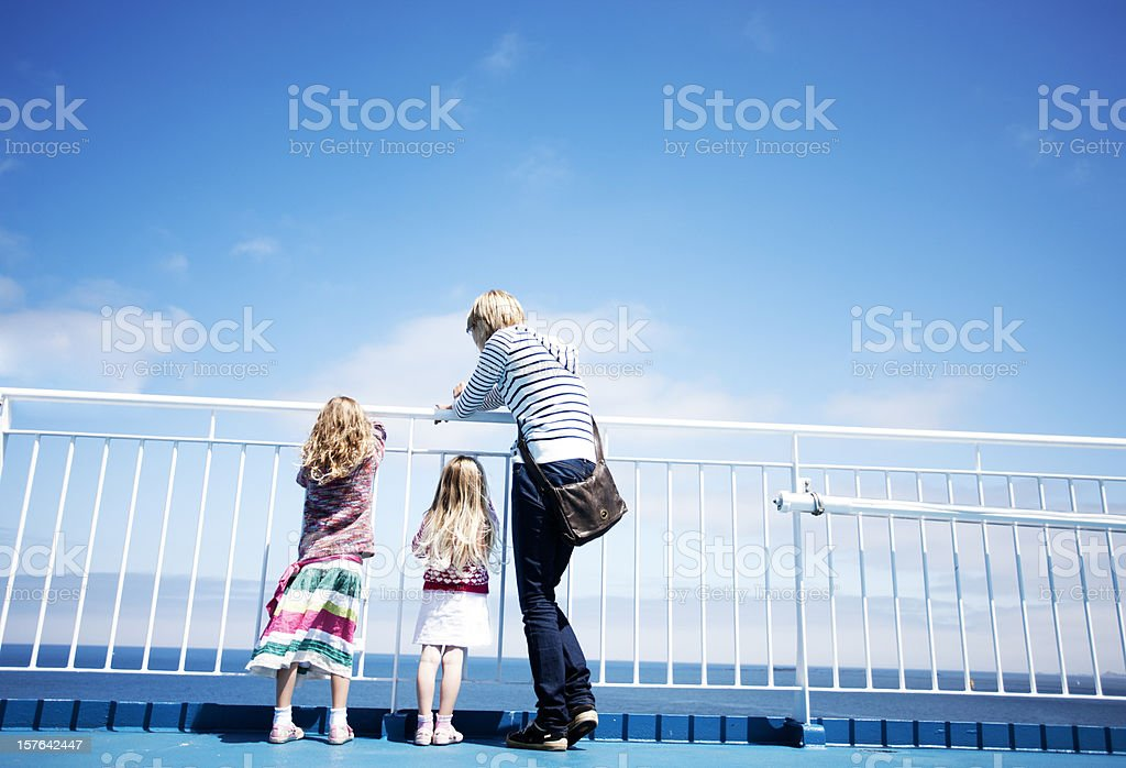 Family on ferry stock photo