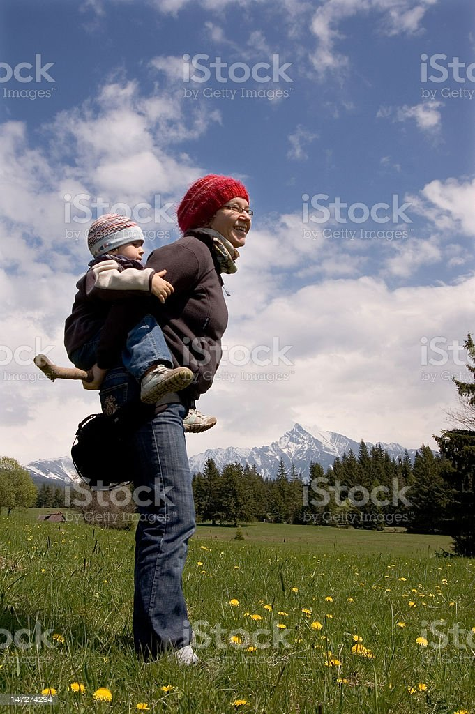 family on hike royalty-free stock photo