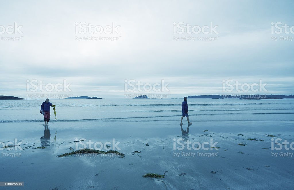Family on Long Beach of Pacific Rim National Park royalty-free stock photo