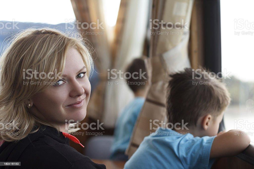 Family on passanger ship royalty-free stock photo