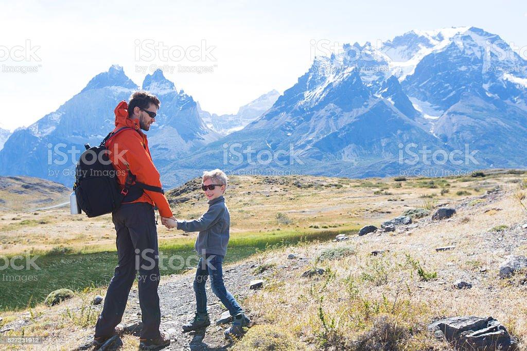 family on patagonia stock photo