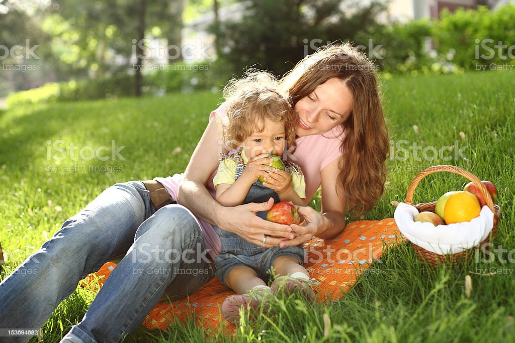 Family on picnic royalty-free stock photo