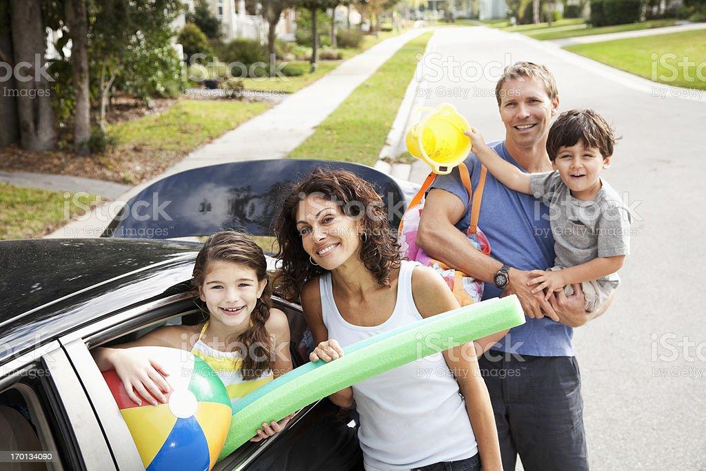 Family on road trip to beach stock photo