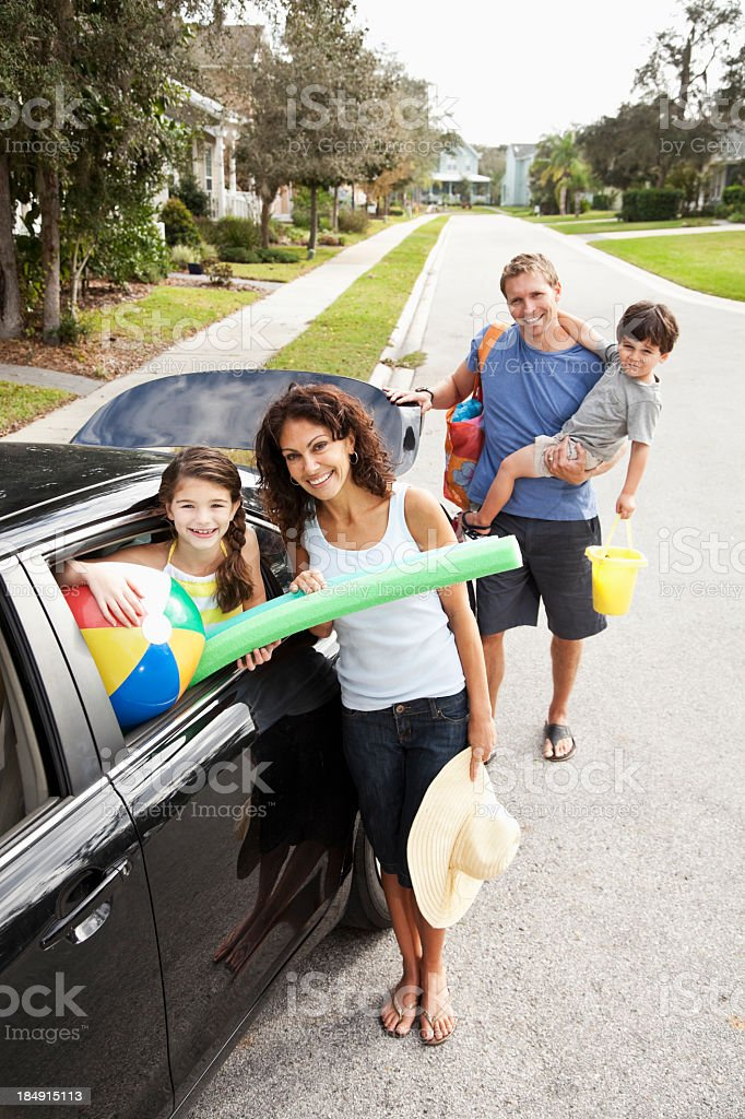 Family on road trip to beach royalty-free stock photo