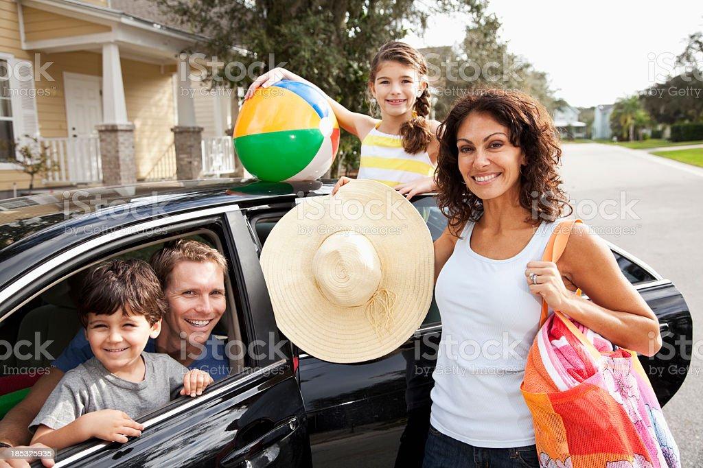 Family on road trip to beach royalty-free stock photo