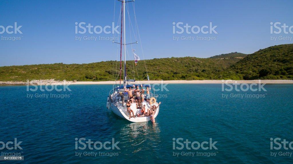 Family on sailing stock photo