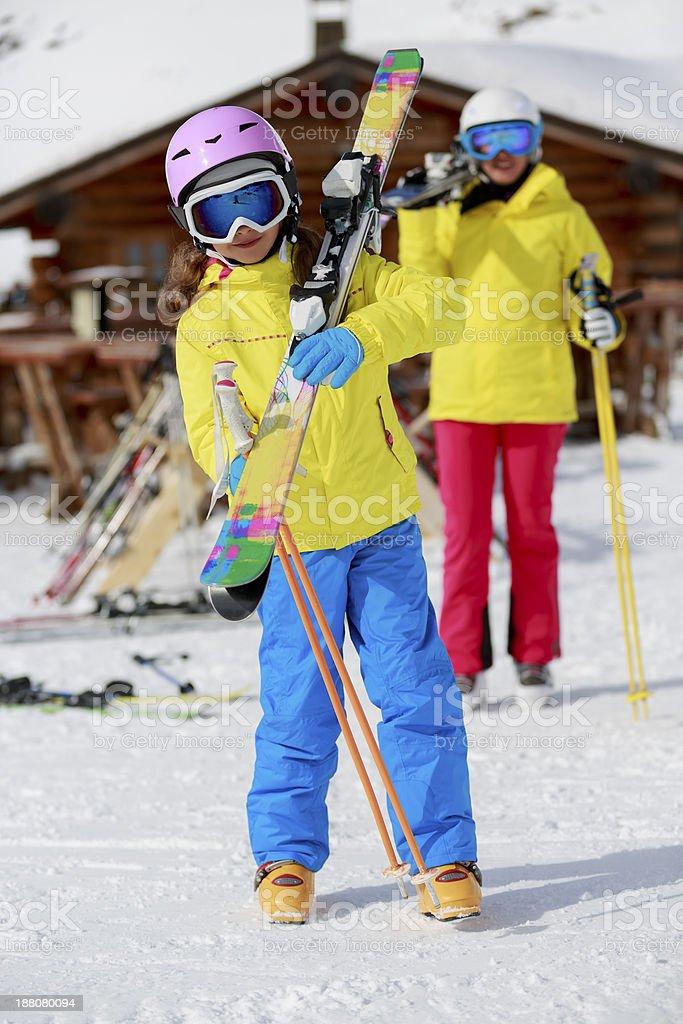 Family on ski vacation. stock photo