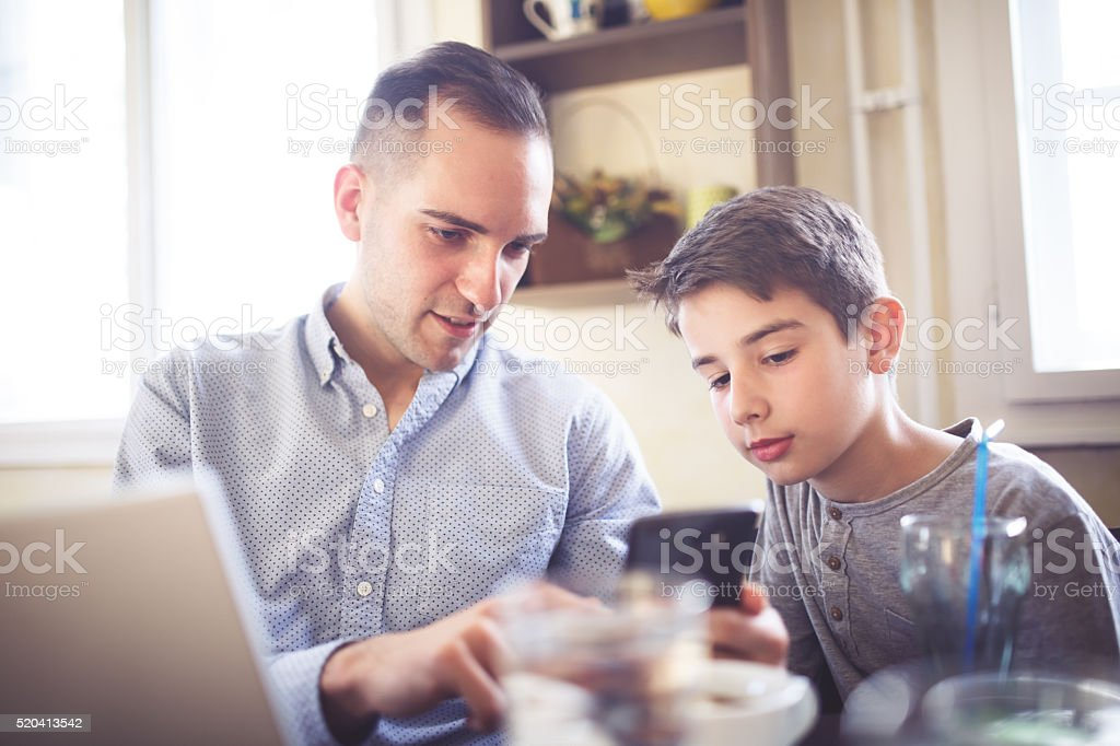 Family on social networks stock photo