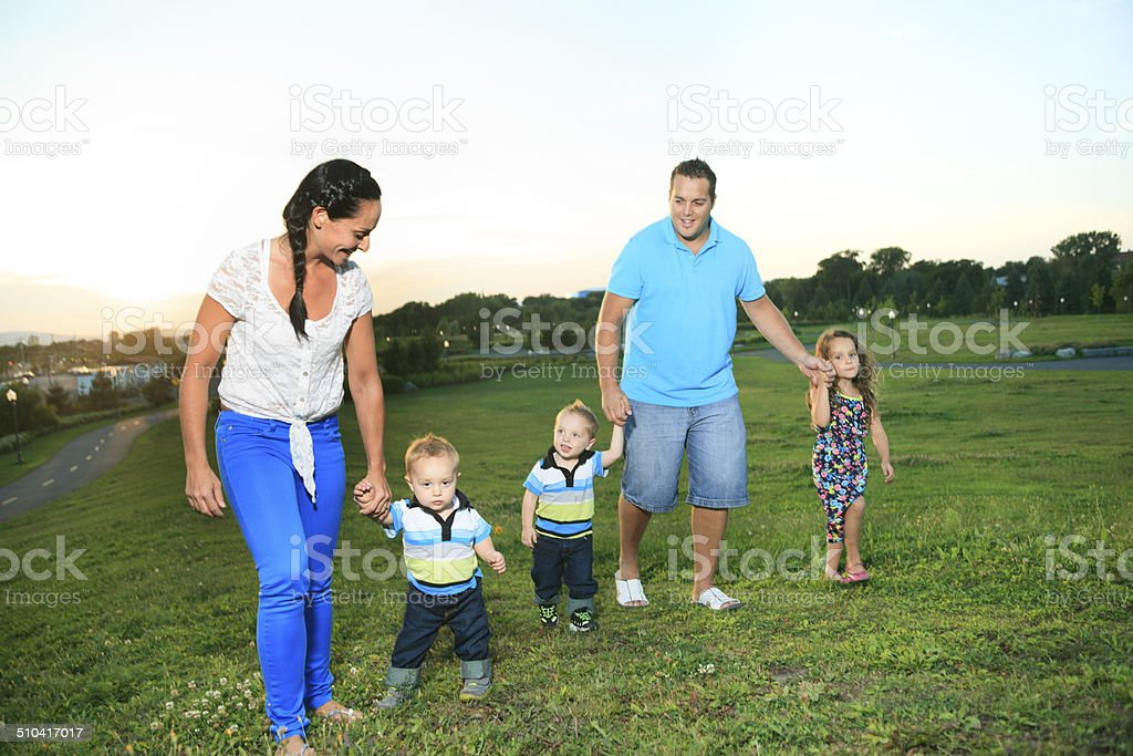 Family on Sunset - Walk stock photo