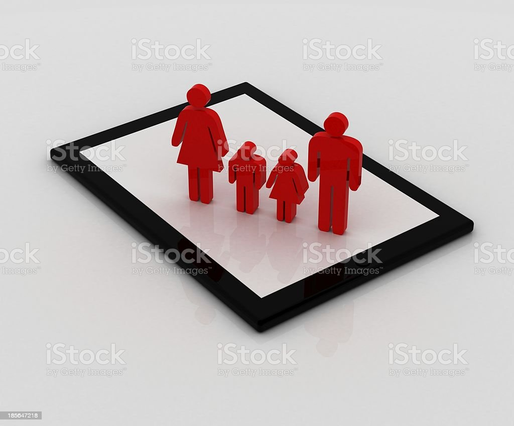 Family on tablet royalty-free stock photo