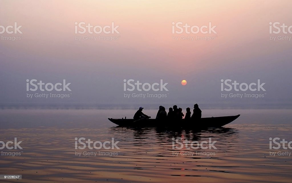 Family on the boat royalty-free stock photo