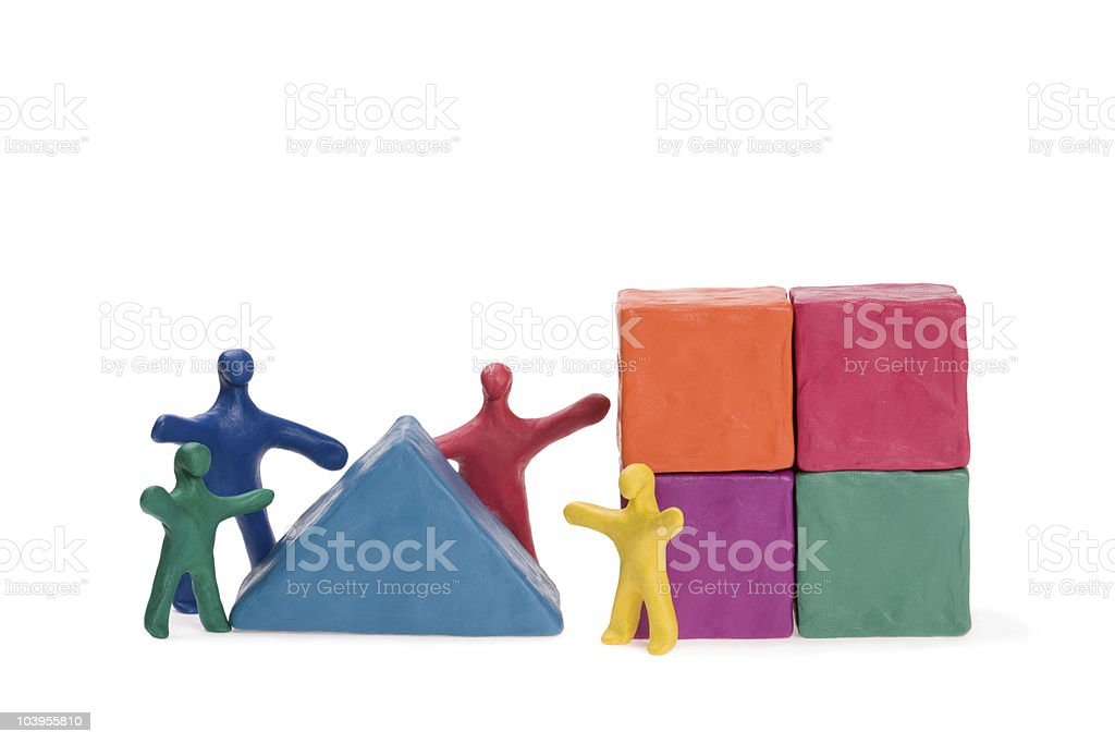 Family on the construction of a house royalty-free stock photo