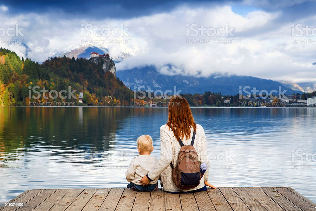Family on the Lake Bled, Slovenia, Europe stock photo
