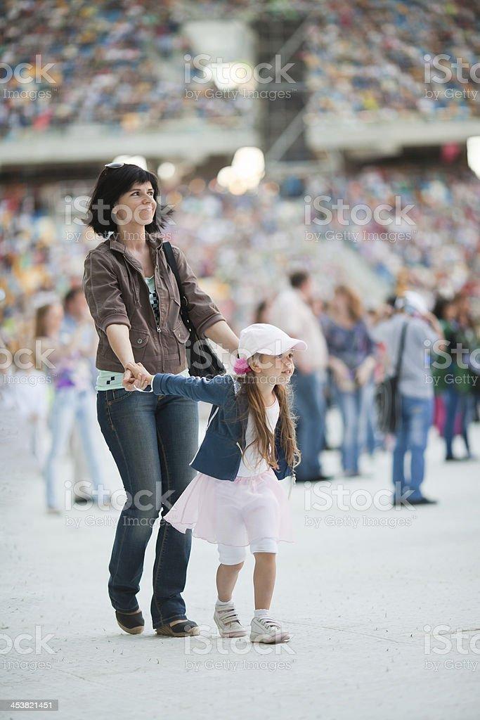 Family on the stadium royalty-free stock photo