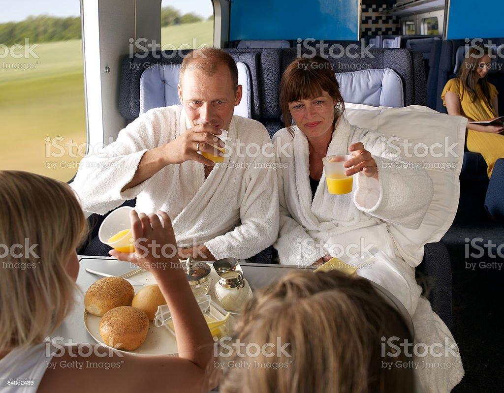 Family on train stock photo