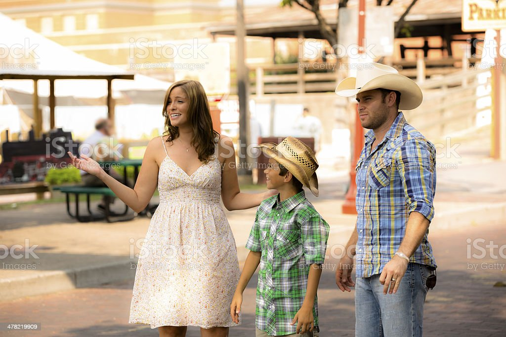 Family on vacation at Fort Worth, Texas travel destination. stock photo