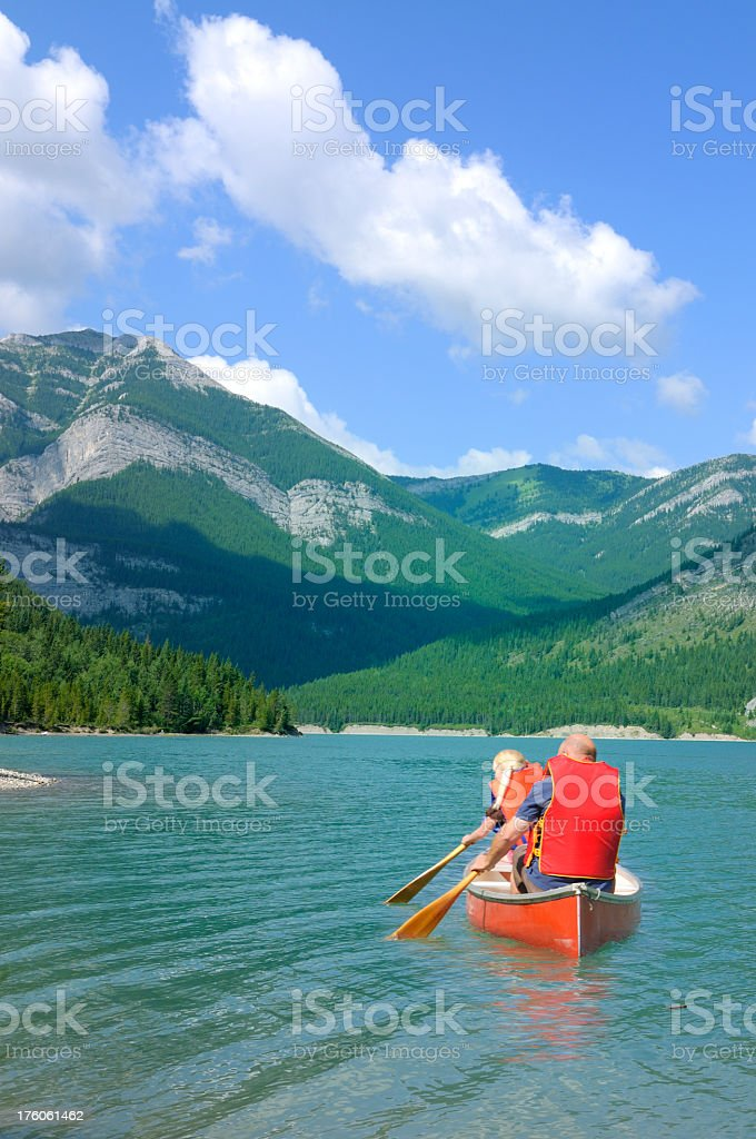 Family on vacation in Rocky mountains royalty-free stock photo