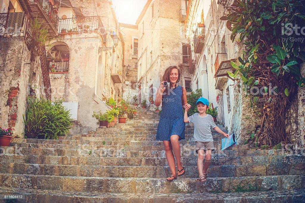 Family on vacations stock photo