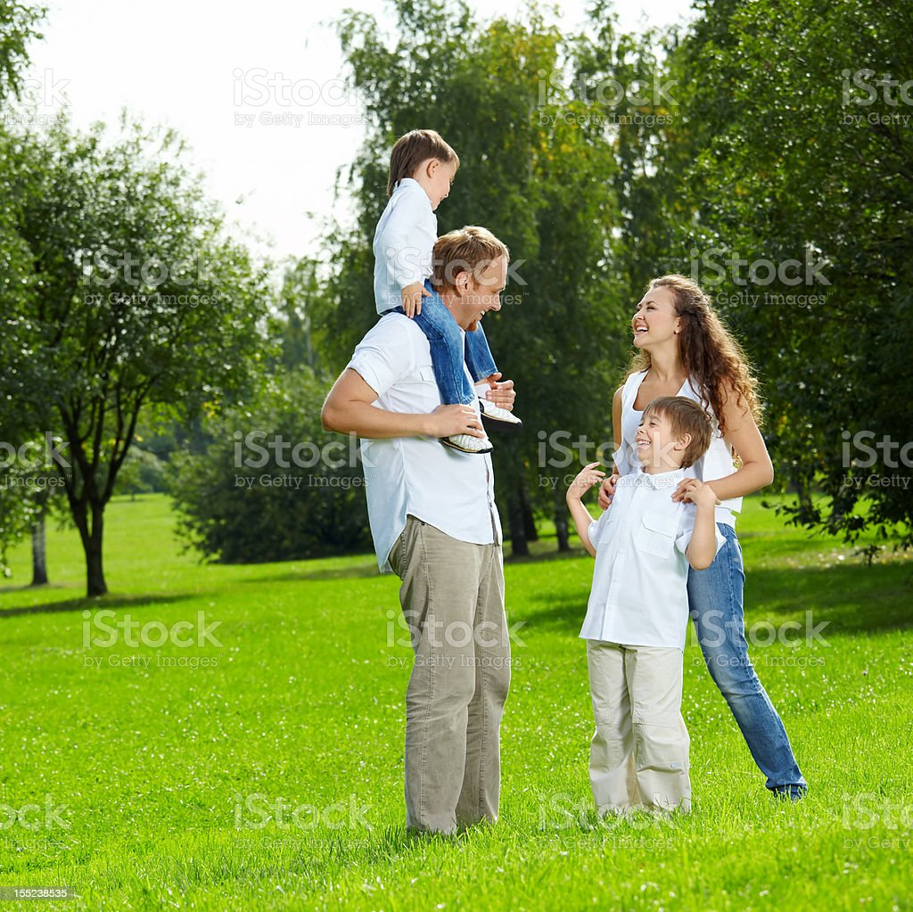Family on walk royalty-free stock photo