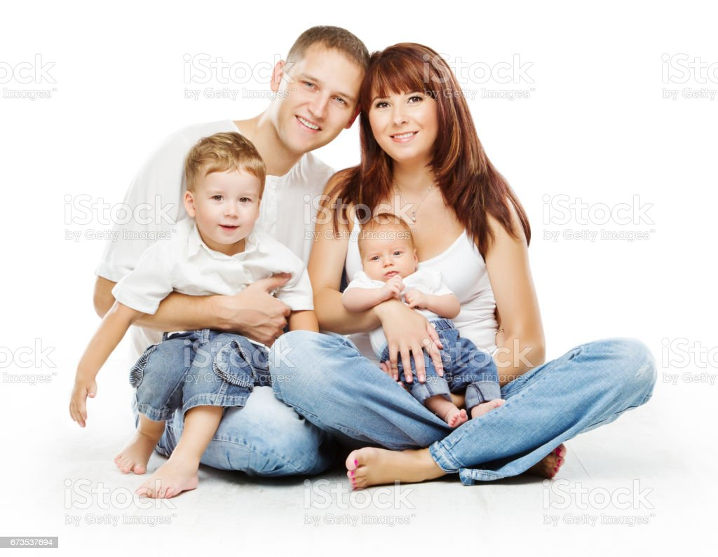 Family on White Background, People Four Persons, Happy Parents sit with Children stock photo