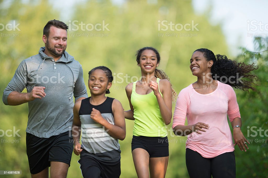 Family out for a Run stock photo