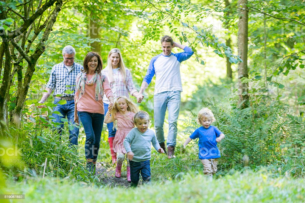 Family out for a walk stock photo