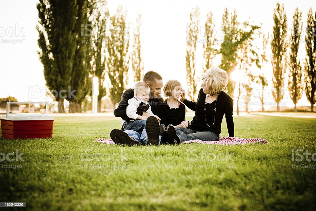 Family outdoor picnic time stock photo