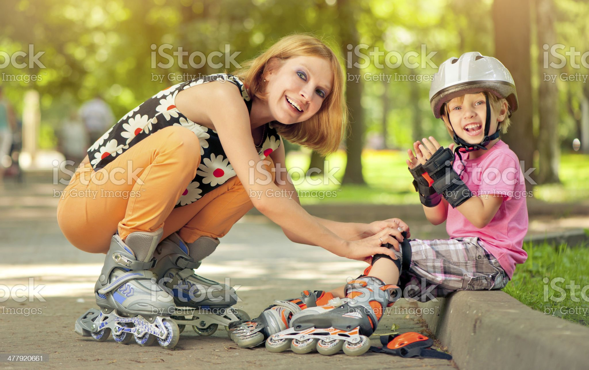 Family outdoors in summer royalty-free stock photo