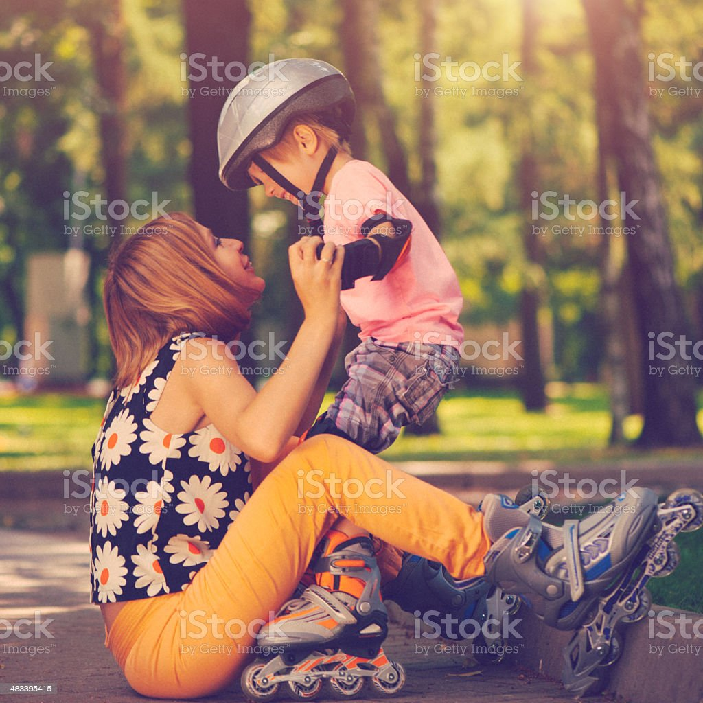 Family outdoors in summer stock photo