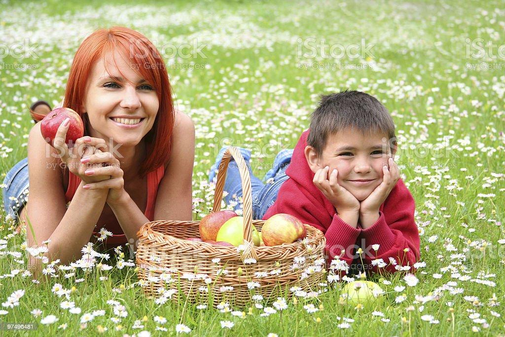 family outdoors royalty-free stock photo