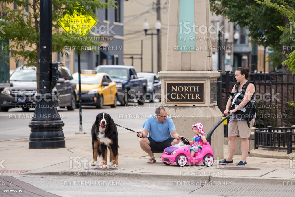 A family outing in North Center, Chicago stock photo