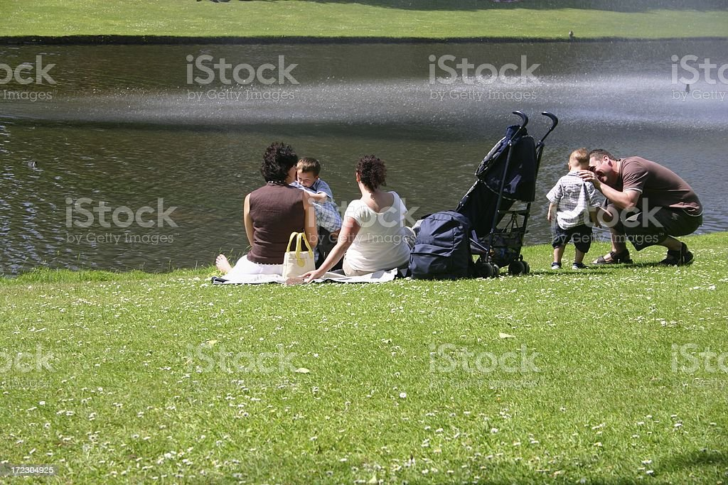 Family outing with aunt stock photo