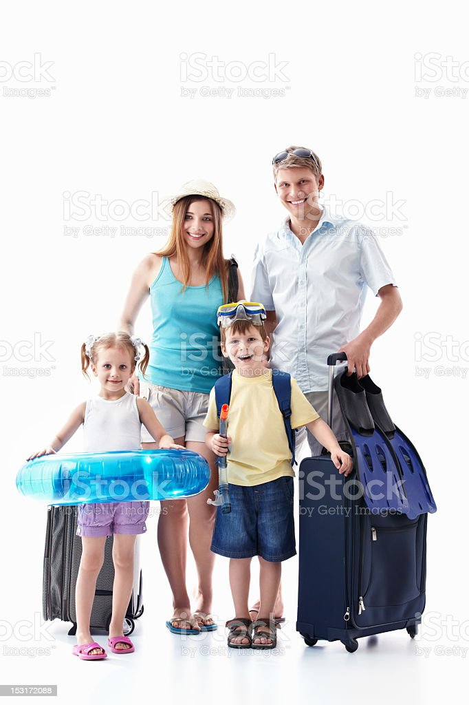 A family packed and ready to go on their vacation to Hawaii  stock photo