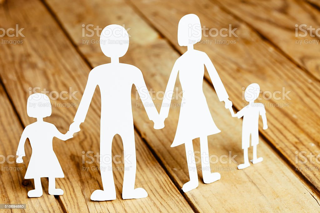 Family paper dolls stock photo