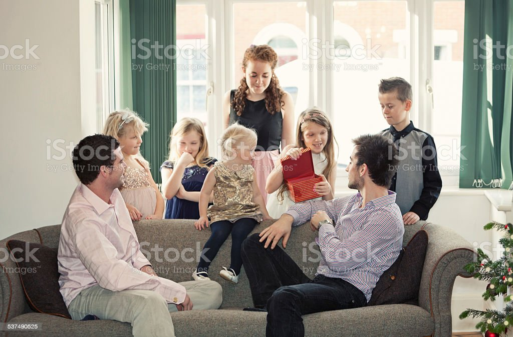 Family party - young and older siblings /extended family stock photo