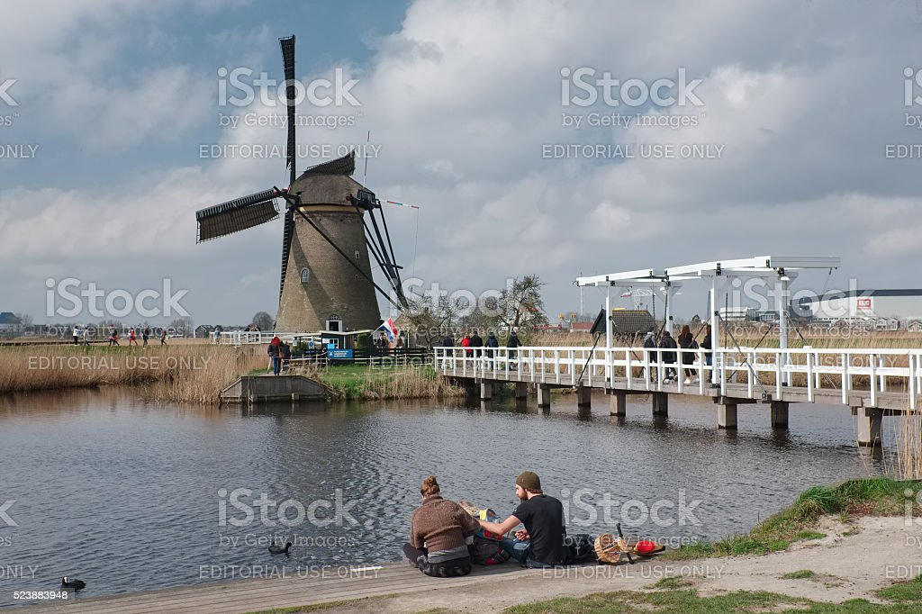 Family picnic in Kinderdijk, the Netherlands stock photo