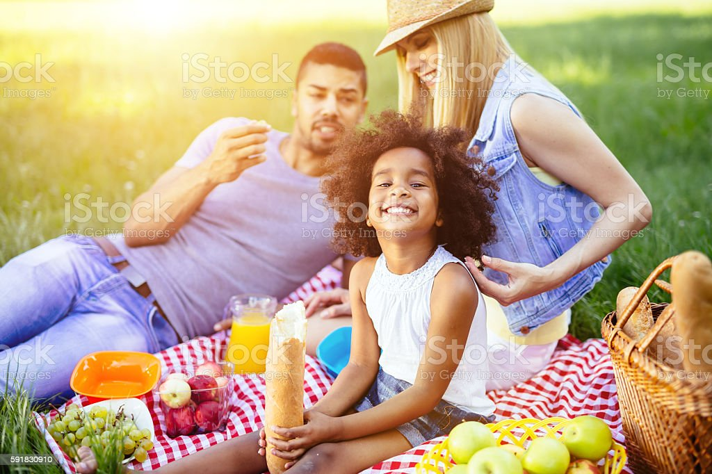 Family picnicking outdoors stock photo