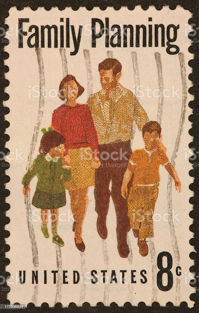 family planning postage stamp 1960s royalty-free stock photo