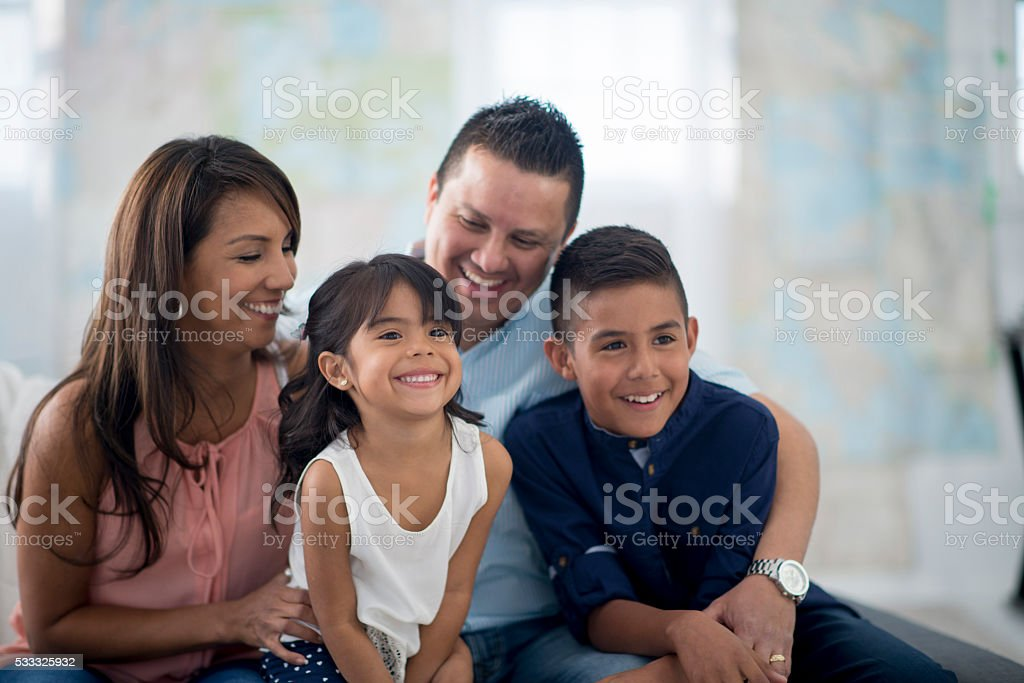 Family Playing and Laughing Together stock photo