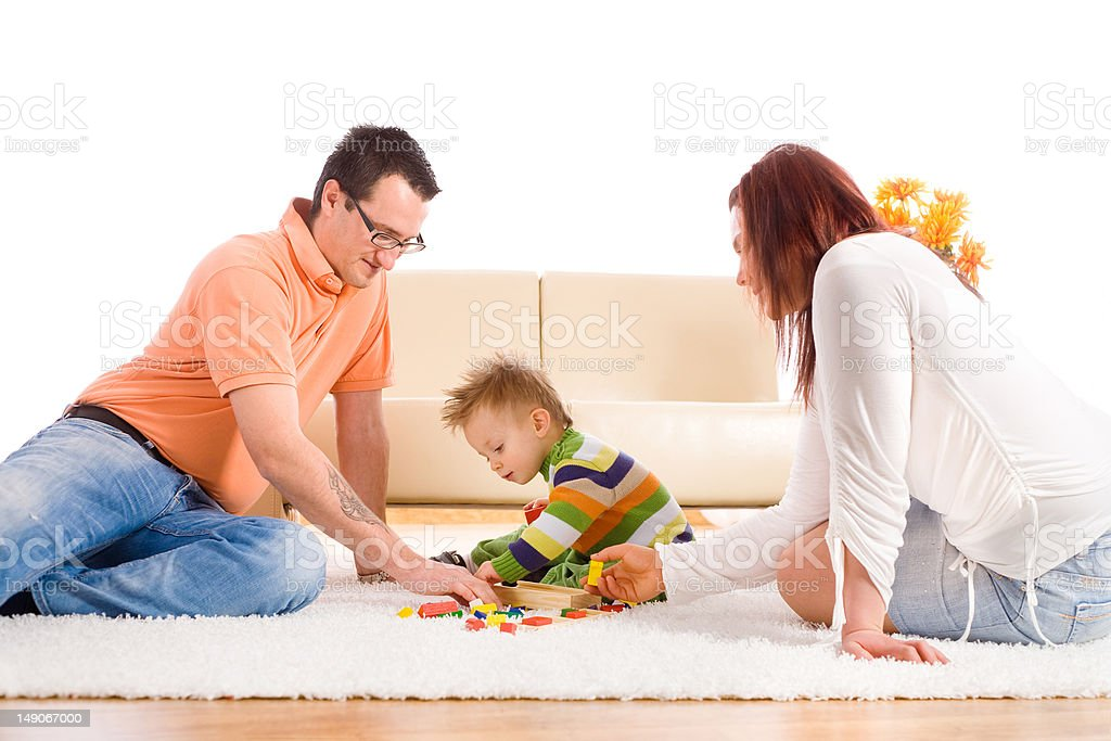 Family playing at home royalty-free stock photo
