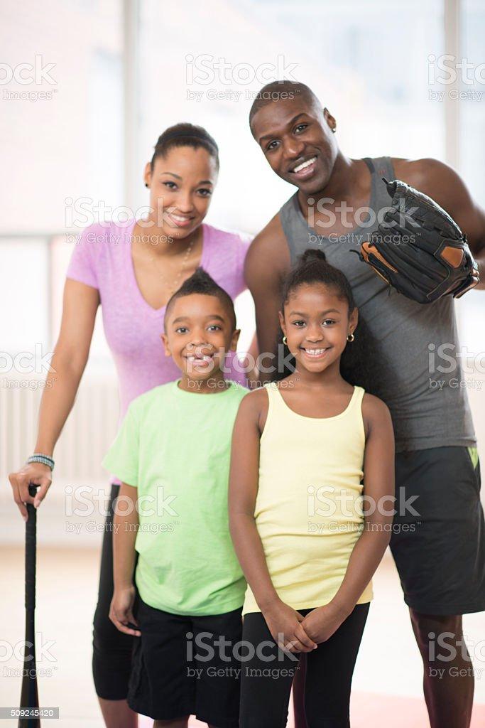 Family Playing Baseball stock photo
