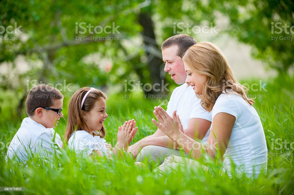 Family playing stock photo